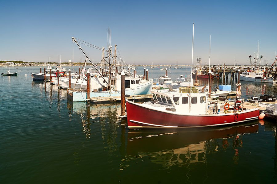 Contact - Fishing Boats Docked on the Bay in New England Massachusetts