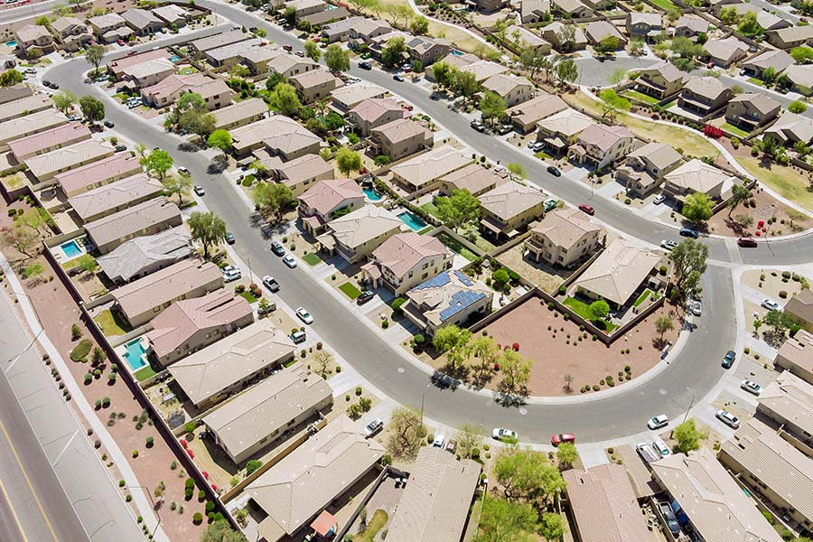 Peoria, AZ - Aerial View of a Community of Arizona Houses on a Bright Day