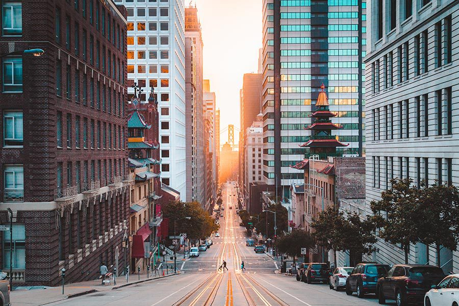Business Insurance - Looking Down a City Street in San Francisco at Dusk