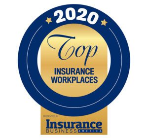 Awards - 2020 Top Insurance Workplaces Insurance Business America Badge