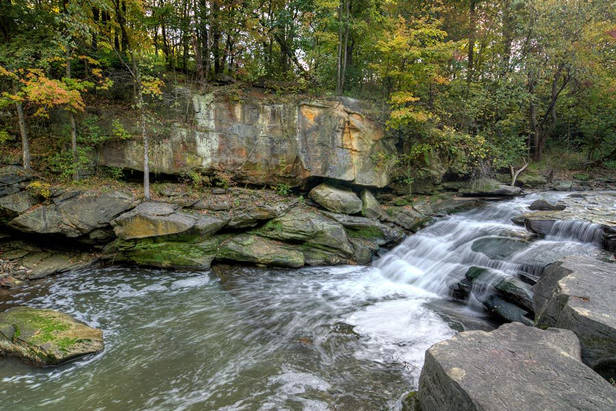 Contact - Rocky River, Cliffs, An Rushing Water, Surrounded by Trees, At Berea Falls in Ohio