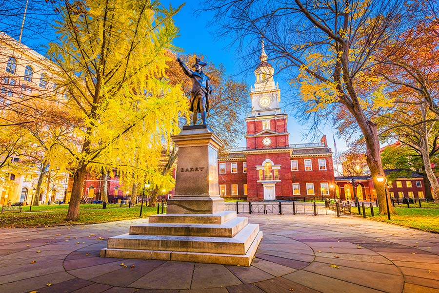 Contact - View of Historical Statue in the Park at Independence Hall in Philadelphia Pennsylvania During the Fall