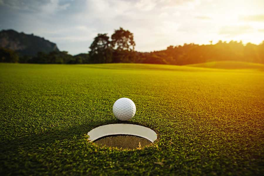About Our Agency - Selective Focus of a White Golf Ball near Hole on Green Grass against Sunset on a Summer Day
