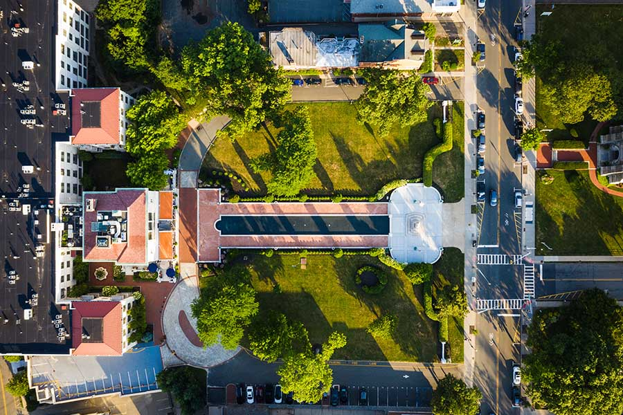 Morristown, NJ - Aerial View of Morristown, New Jersey and Municipal Building On a Sunny Summer Day