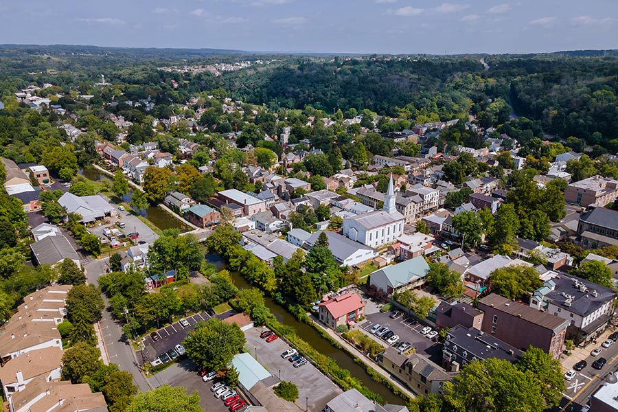Warminster, PA Insurance - Aerial View of Suburban Pennsylvania on a Sunny Day
