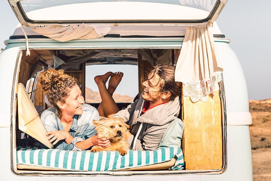 Contact - A Couple and Their Dog Lay In Their Camper Van on a Sunny Day, The Back Hatch Open and Curtains Pulled Aside