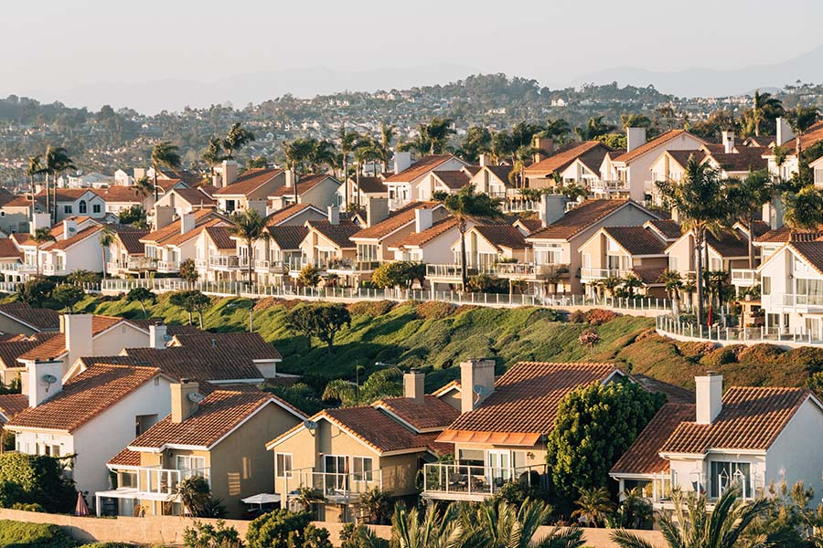 Santa Ana, CA - View of Houses and Hills From Hilltop Park in Dana Point, Orange County in California