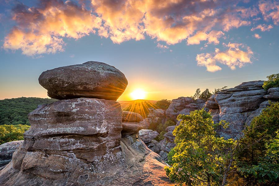 Contact Us - Rock Formation in Shawnee National Forest in Illinois at Sunset