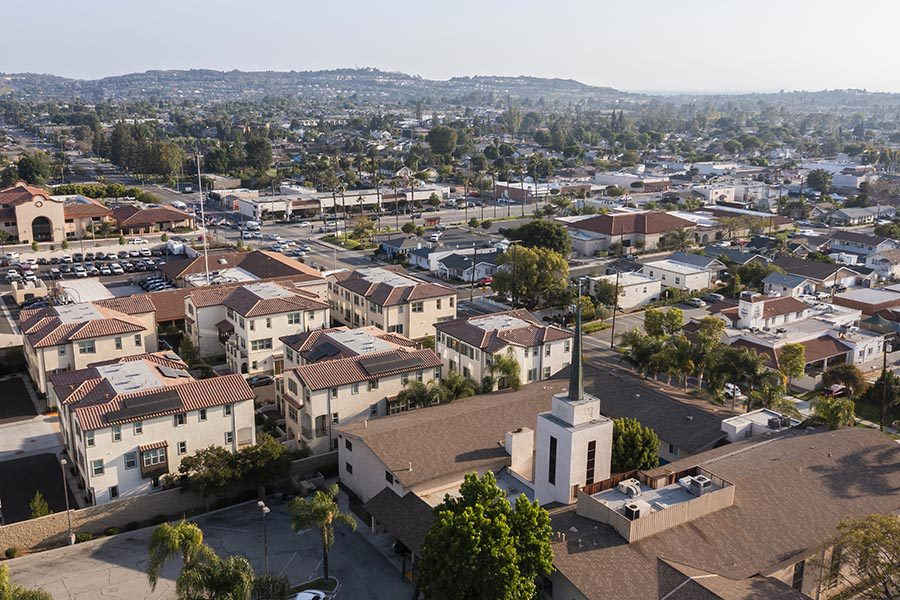 Whittier, CA Insurance - Sprawling Residential Area, Homes With Terra Cotta Roofs, Rolling Hills in the Distance
