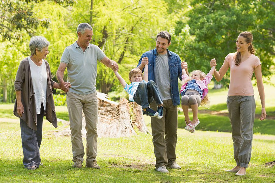 About Our Agency - Two Small Children are Playfully Being Carried By Their Parents and Grandparents While Walking Through a Green Park on a Sunny Day