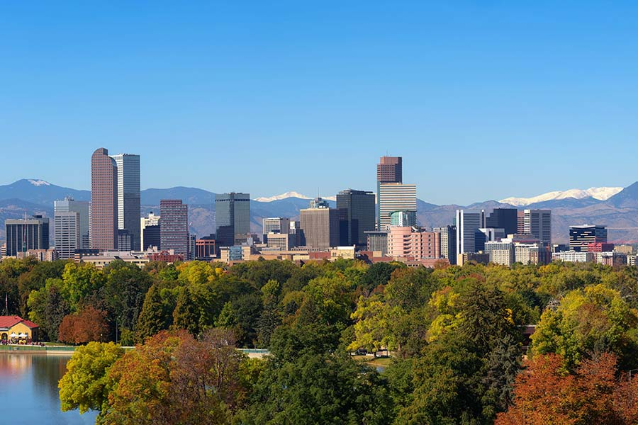 Contact - Scenic View of Downtown Denver Colorado During the Fall with Mountains in the Background