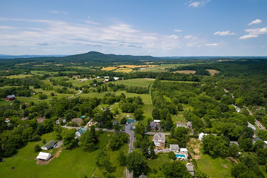 Silver Spring, MD Insurance - Aerial view of Barnesville, Montgomery County, Maryland with Moutians on the Horizon