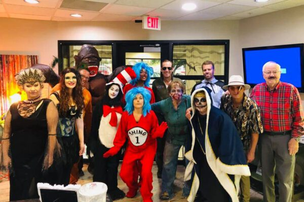 About Our Agency - Portrait of Byrne Insurance Group Agency Full Team Member Staff Dressed up for Halloween