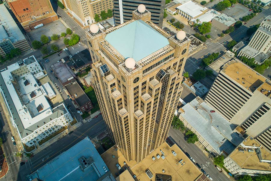 Business Insurance - View from the Sky Down of Tall Modern Skyscrapers in Downtown Birmingham Alabama on a Sunny Day