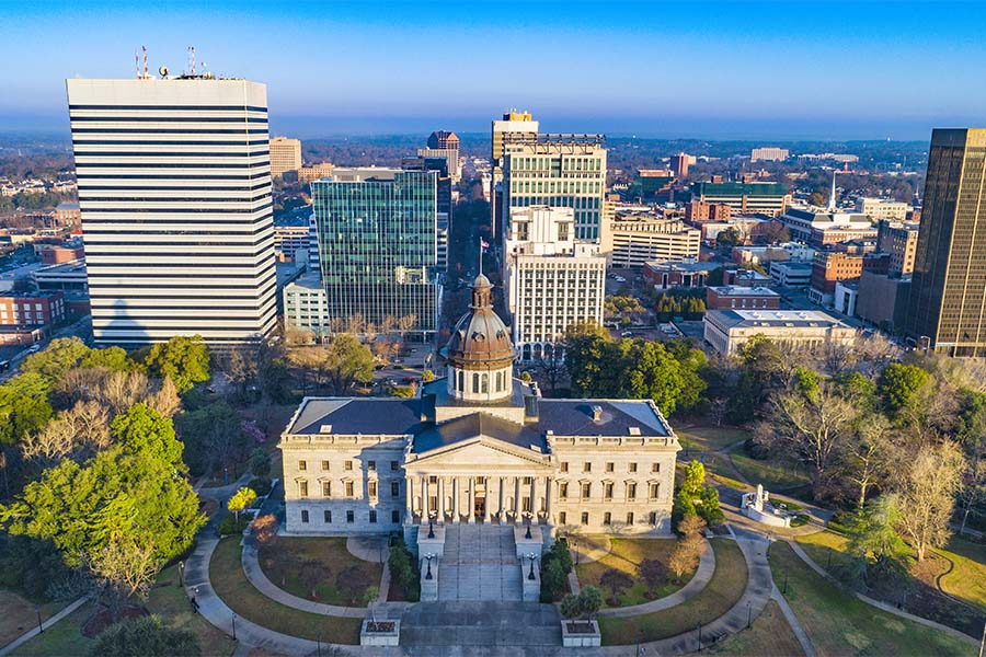 Columbia SC - View of Downtown Columbia South Carolina Buildings Against a Bright Blue Sky