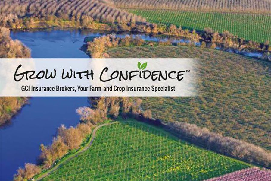 Contact - Aerial View of Farmland and River with Grow With Confidence Wording Overtop