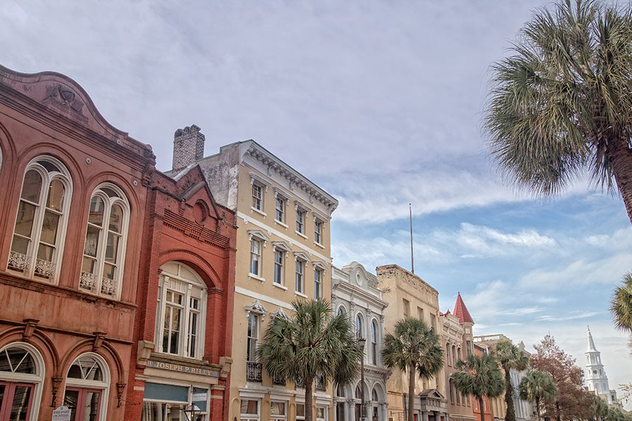 Dobson, NC - Angled View of Houses in the Historic Section of Charleston, South Carolina