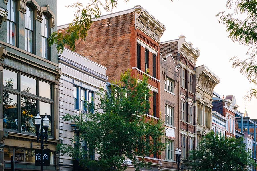 Business Insurance - Row of Colorful Historical and Commercial Buildings in Downtown Cincinnati Ohio
