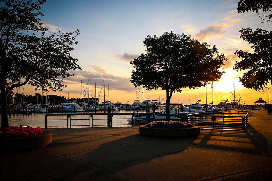 About Our Agency - Scenic View of Trees Next to a Marina with Boats at Sunset in Petoskey Michigan