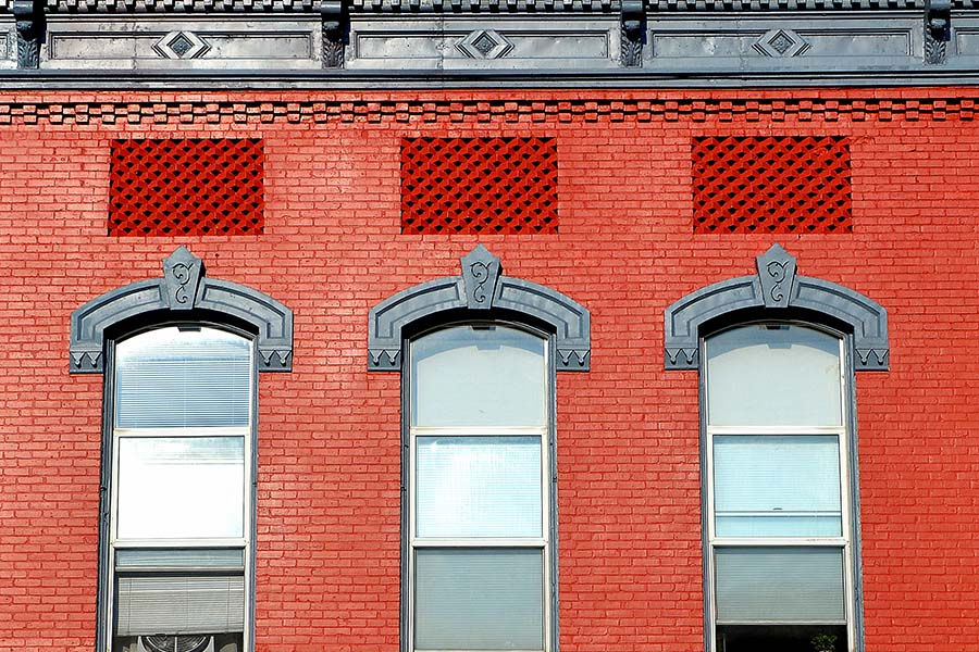 Blog - Closeup View of a Historical Red Brick Building in Downtown Petoskey Michigan