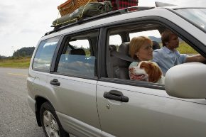 Photo of a family in a car