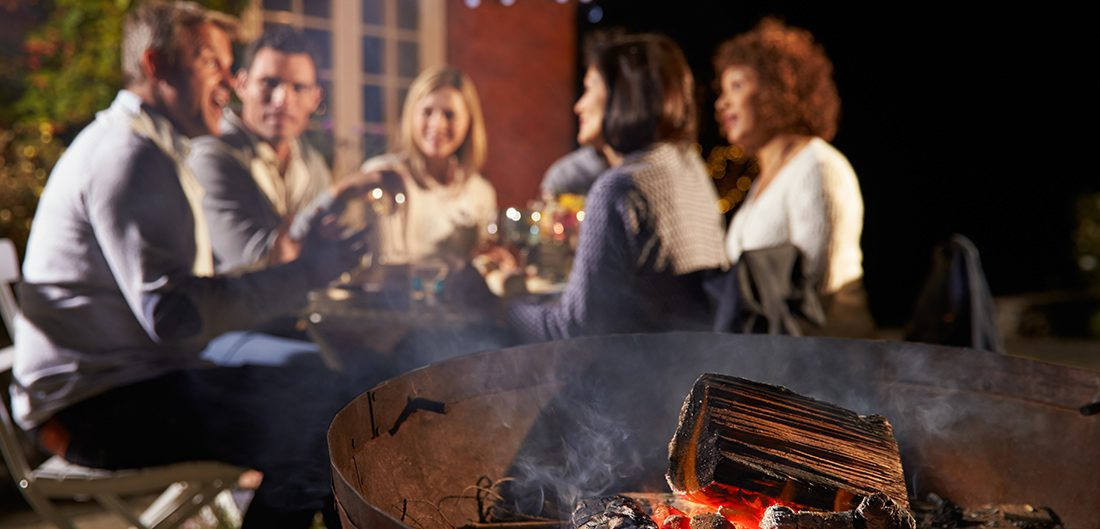 Dinner party near fire pit