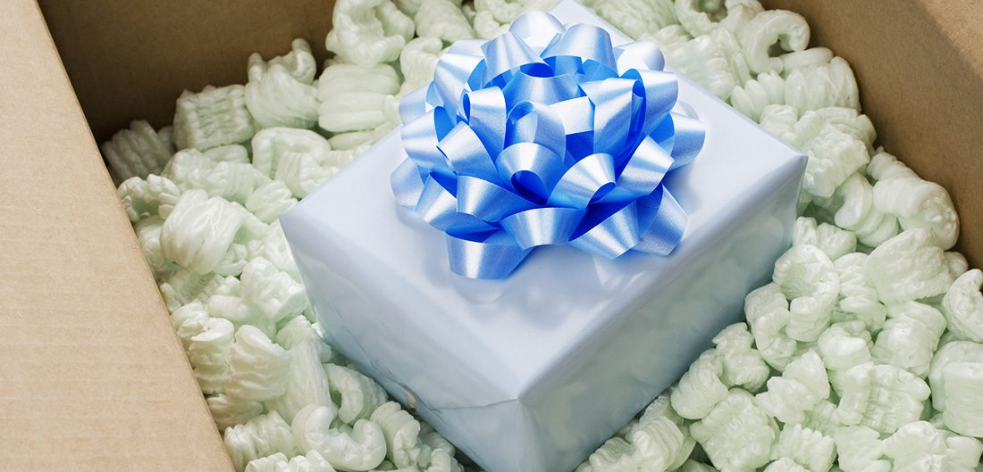 a box filled with a present inside