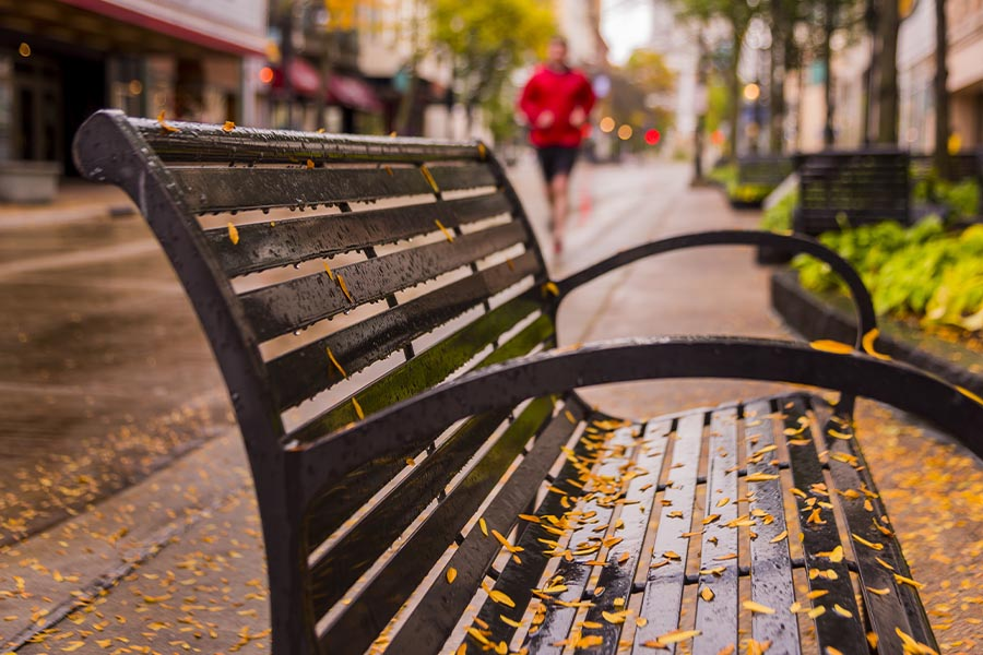 Contact - Closeup View of a Bench in Wisconsin on a Main Street with the Town Blurred in the Background on a Rainy Day