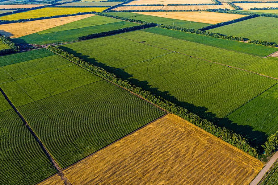 Specialized Business Insurance - Aerial Landscape View of Corn, Sunflowers, and Soybean Fields with Straw Bales of Hay at Sunset
