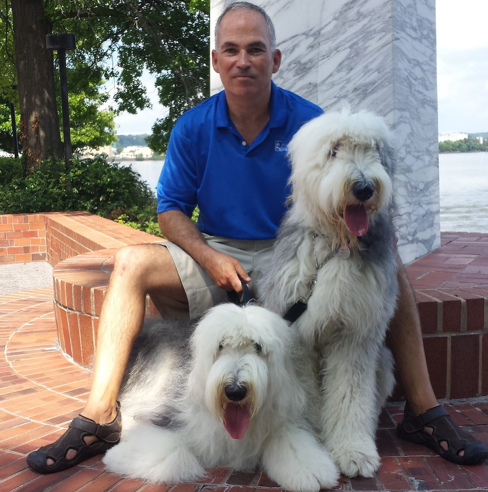 Homepage - Jim O'Brien and His Two Large Dogs in Old Town Alexandria, Virginia
