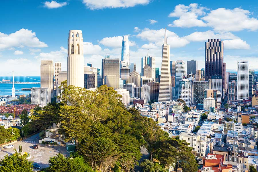 Contact - Aerial View of Downtown San Francisco With the Coit Tower in Foreground on a Sunny Day