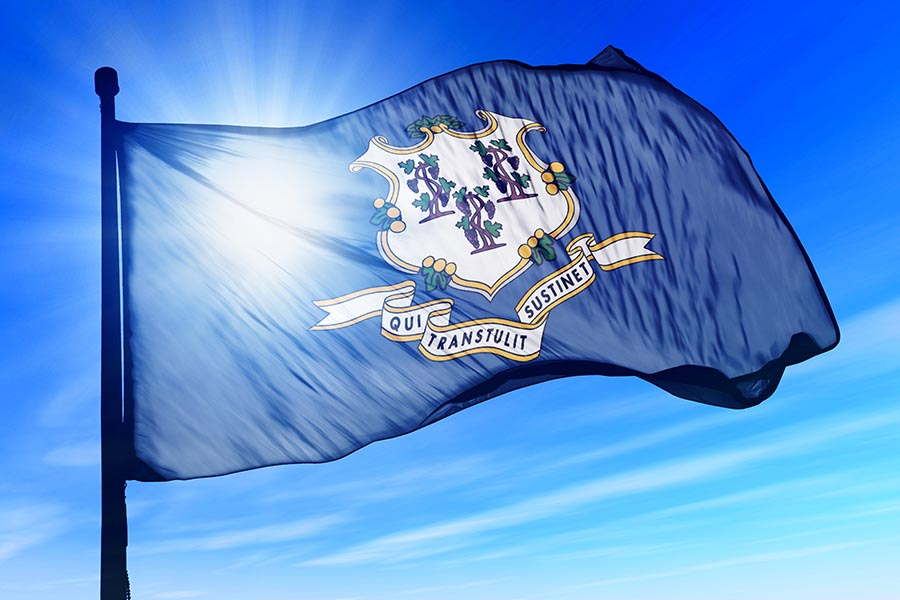South Windsor, CT Insurance - The Connecticut State Flag Waving against a Blue Sky, Sun Shining Through