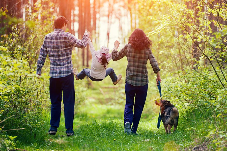 About Our Agency - Rear View of a Mother and Father Holding Up Their Young Daughter in the Air While Taking a Walk with the Dog in the Park