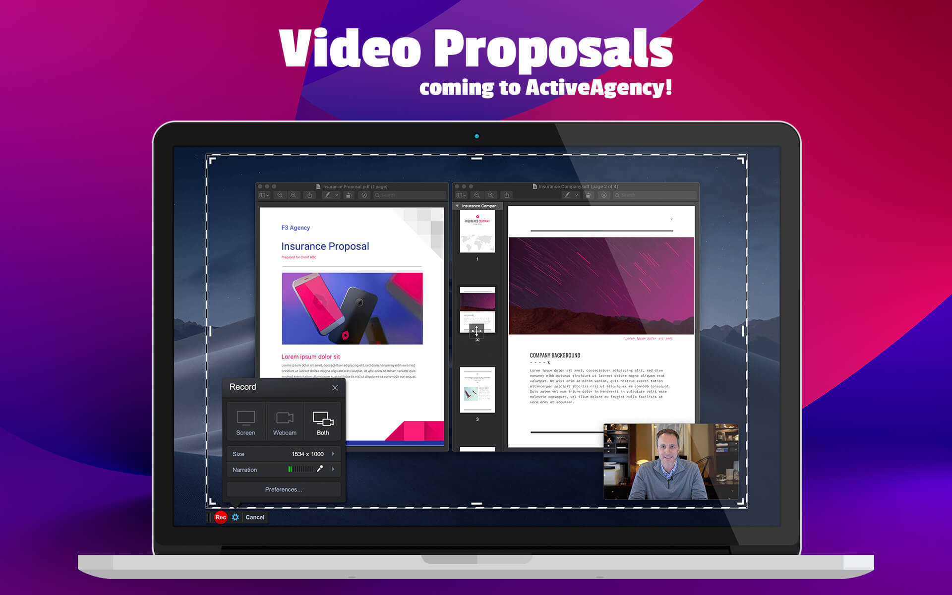 Video Proposals coming to ActiveAgency insurance agency website platform