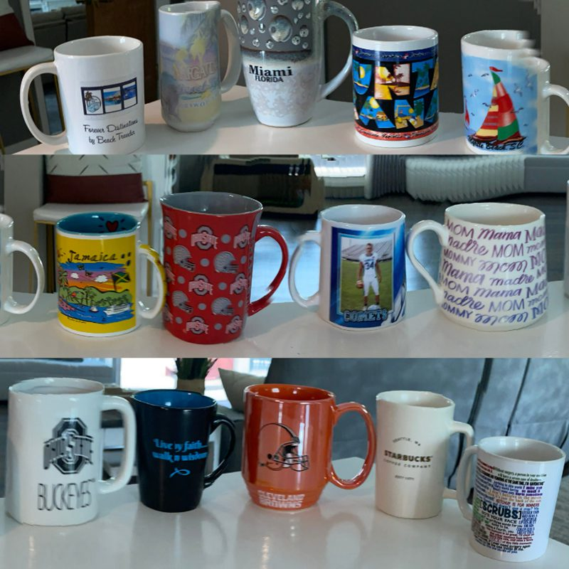 Favorite Beverage - 14 Mugs Lined Up in 3 Rows