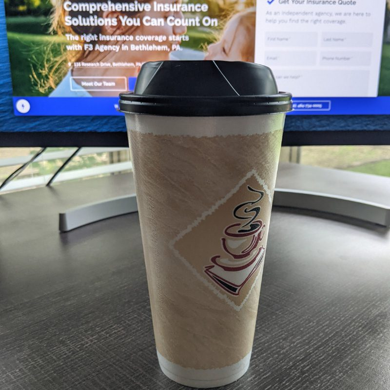 Favorite Beverage - Beige and White Takeout Coffee Cup With Computer Monitor