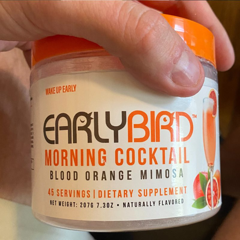 Favorite Beverage - Orange and Beige Tub of EarlyBird Morning Cocktail Mix