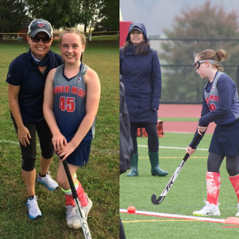 Hidden Talents - 2 Image Collage of Kassie With Her Daughter With Field Hockey Stick