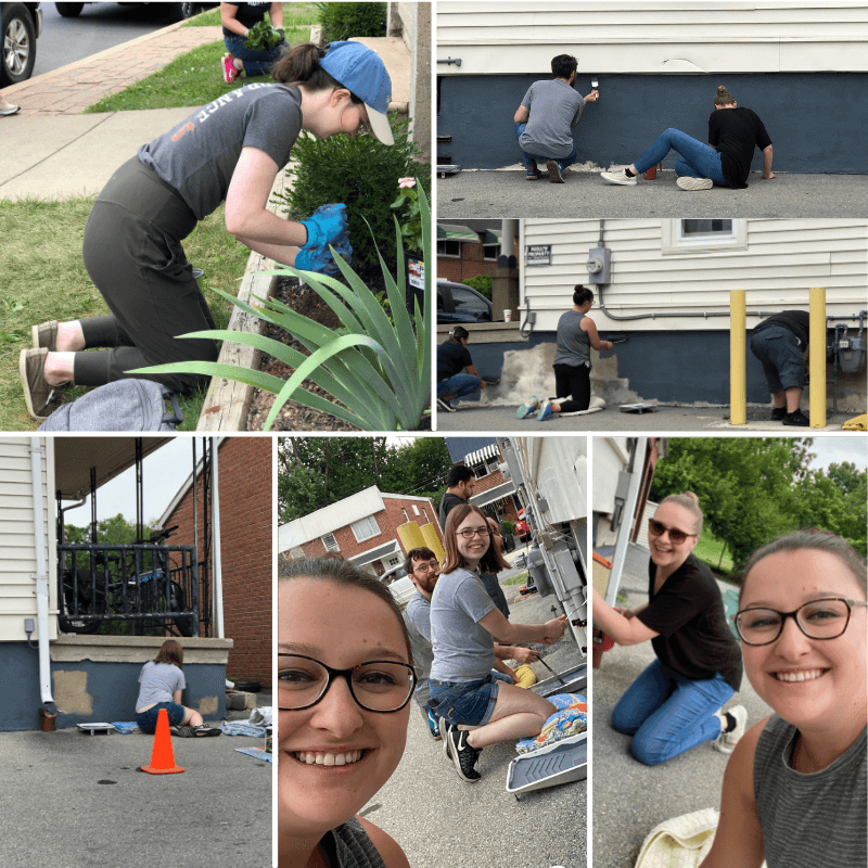 Lehigh County Humane Society - Collage of Team Members Painting a Building and Gardening