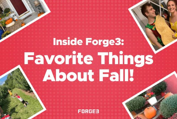 Inside Forge3 Favorite Things About Fall - Collage Displaying Four Individual Employee Images and Their Favorite Fall Things Arranged Diagonally over the Four Corners of the Main Image With a Red Background