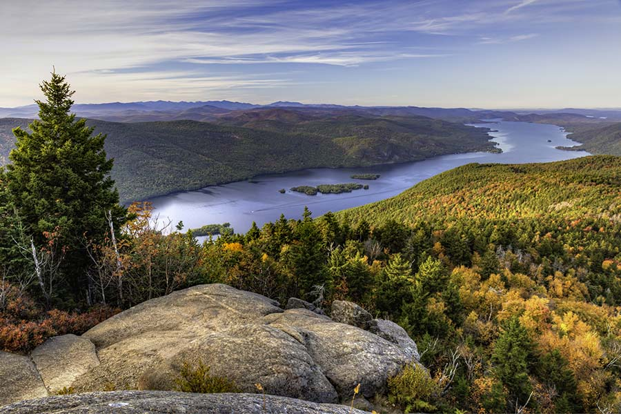 Contact - View of Lake and Forests from the Mountain in Upstate New York